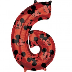 Balon Folie Figurina Mickey Mouse Forever Cifra 6 rosu- 66 cm, Amscan 41707, 1 buc