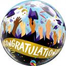Balon Bubble Congratulations Grad Caps - 22''/ 56 cm, Qualatex 98327