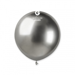 Balon Latex Jumbo Shiny Silver- 48 cm, Gemar GB150.89