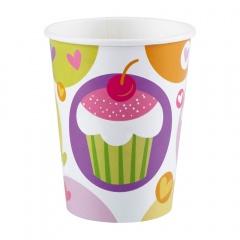 Pahare carton Cupcake pentru petrecere - 250 ml, Amscan 997211, Set 8 buc