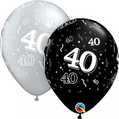 "Baloane latex  11"" Silver/Black 40 ani , Qualatex 25225"