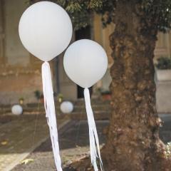 Panglici satinate albe pentru baloane - 1 m, Radar 50277, set 6 buc