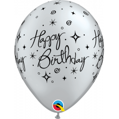 "Baloane latex 11"" inscriptionate Birthday Elegant Sparkles & Swirls Argintiu, Qualatex 19139"