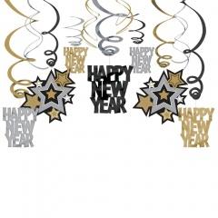 30 Swirl Decorations Happy NewYear Foil / Paper 60 cm, Amscan 679985