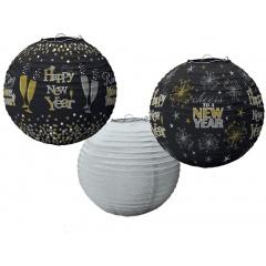 Ornamente Revelion tip lampion, 24 cm, Amscan 240621, set 3 bucati