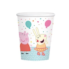 8 Cups Peppa Pig 250 ml, Amscan 9906333