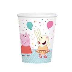 Pahare carton Peppa Pig pentru petrecere - 250 ml, Amscan 9906333, set 8 buc