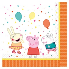 16 Lunch Napkins Peppa Pig 33 x 33 cm, Amscan 9906331