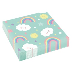 20 Napkins Rainbow & Cloud 33 x 33 cm, Amscan 9904302