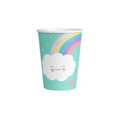 8 Cups Rainbow & Cloud Paper 250 ml, Amscan 9904301