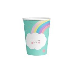Pahare carton Rainbow & Cloud pentru petrecere - 250 ml, Amscan 9904301, set 8 buc