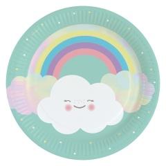 Farfurii carton Rainbow & Cloud pentru petrecere - 23 cm, Amscan 9904299, set 8 buc