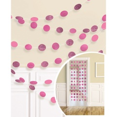6 String Decorations Glitter Bright Pink Foil 213 cm, Amscan 672424-103