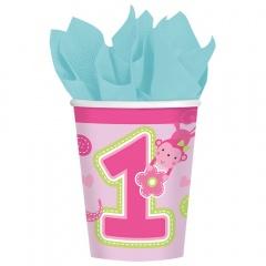 Pahare carton One Wild Girl pentru petrecere - 266 ml, Amscan 581424, Set 8 buc