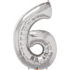 Balon Folie Figurina Cifra 6 Argintiu - 42''/106 cm, Qualatex 30421