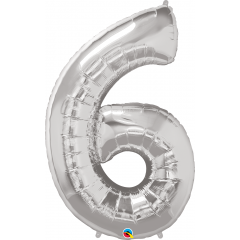 """Number 6 Silver SuperShape Foil Balloon - 42"""", Qualatex 30421"""
