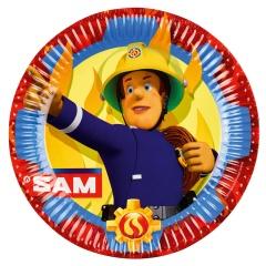 Farfurii carton Pompierul Sam pentru petrecere copii - 23 cm, Amscan 9902175, set 8 buc