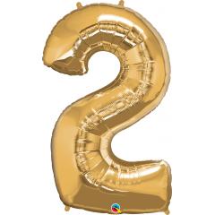 Balon Folie Figurina Cifra 2 Auriu - 42''/106 cm, Qualatex 30477