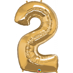 """Number 2 Gold SuperShape Foil Balloon - 42"""", Qualatex 30477"""