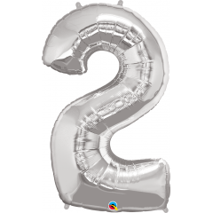 """Number 2 Silver SuperShape Foil Balloon - 42"""", Qualatex 30404"""