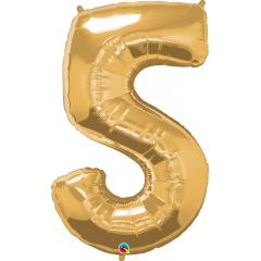 Balon Folie Figurina Cifra 5 Auriu - 44''/111 cm, Qualatex 30489
