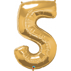 """Number 5 Gold SuperShape Foil Balloon - 44"""", Qualatex 30489"""
