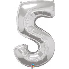 Balon Folie Figurina Cifra 5 Argintiu - 44''/111 cm, Qualatex 30417