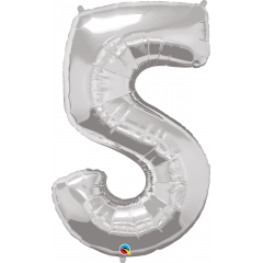 """Number 5 Silver SuperShape Foil Balloon - 44"""", Qualatex 30417"""