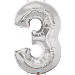 Balon Folie Figurina Cifra 3 Argintiu - 44''/111 cm, Qualatex 30409