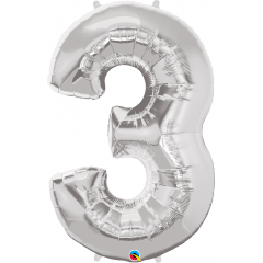 """Number 3 Silver SuperShape Foil Balloon - 44"""", Qualatex 30409"""