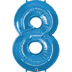 Number 8 Blue SuperShape Foil Balloon - 42'', Qualatex 30543