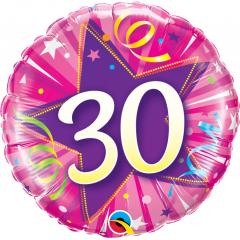 Standard 30 Shining Star Hot Pink Foil Balloon Round 18'', Qualatex 25251