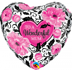 Balon Folie 45 cm Wonderful Mum Floral Damask, Qualatex 41830