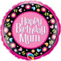 Birthday Mum Pink & Floral Border Balloon Foil, 18'' Qualatex 36603