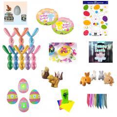 Pachet Paste Cadou (plusuri, baloane, ou iepurasi si dinozauri, decupaje si autocolante, dinti iepuras), set 19 piese