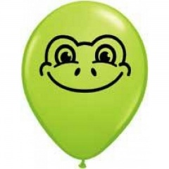 "5"" Printed Latex Balloons, Frog Face Lime Green, Qualatex 97344"