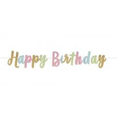 Banner decorativ pentru petrecere Happy Birthday Script - 365.7 x 20.3 cm, Amscan 120334