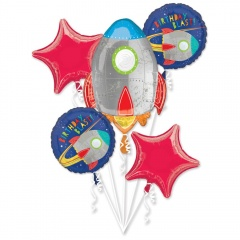Bouquet Blast off Birthday Foil Balloon, Radar 39479, pack of 5 pieces