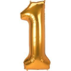 Balon Folie Figurina Cifra 1 Auriu - 55 x 134 cm, Radar 38889