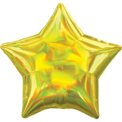 Standard Holographic Iridescent Yellow Star Foil Balloon- 50 cm, Amscan 39266