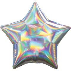 Balon Folie Iridescent Stea Argintiu- 50 cm, Amscan 39270