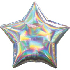 Standard Holographic Iridescent Silver Star Foil Balloon- 50 cm, Amscan 39270