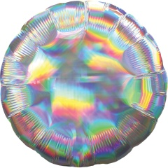 Standard Holographic Iridescent Silver Round Foil Balloon- 50 cm, Amscan 39258