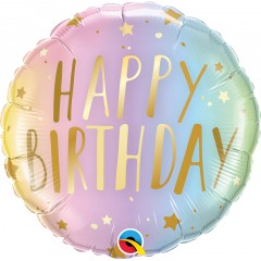 "18""  Happy Birthday Pastel Ombre & Stars Round Foil Balloon, Qualatex 88052"