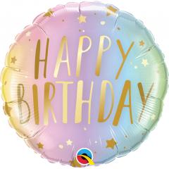 Balon Folie 45 cm Happy Birthday Pastel Ombre & Stars, Qualatex 88052