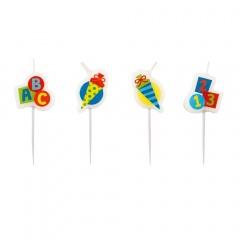 Lumanari pentru tort multicolore - Back to School, Radar 9900191, set 4 buc