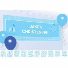 Banner Christening Booties - Blue Personalize It - 120 x 45 cm, Radar 997305