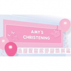 Banner Christening Booties - Pink Personalize It - 120 x 45 cm, Radar 997294