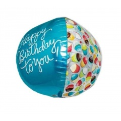 Balon Folie Sfera 3D Happy Birthday to You, 43 cm, 01016