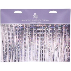 Metallic Decorative Silver Curtain - 2.5 m x 1 m, Qualatex 15990